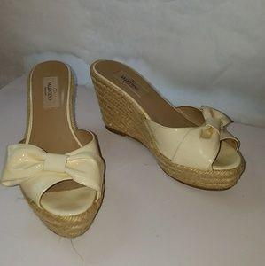 Valentino  Mena bow strap wedges peep toe 6